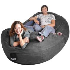 Oval 8 ft. Charcoal Grey Microsuede and Memory Foam Bean Bag (8'... ($332) ❤ liked on Polyvore featuring home, furniture, chairs, grey, grey chair, bean bag, dark grey chair, gray chaise lounge and grey bean bag