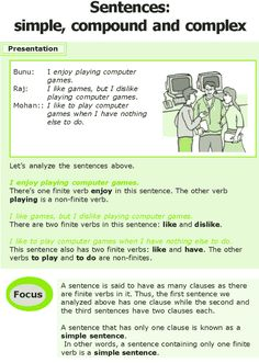 Grade 7 Grammar Lesson 12 Sentences: simple compound and complex Improve English Grammar, Teaching English Grammar, English Grammar Worksheets, English Writing Skills, English Reading, English Language Learning, English Study, English Lessons, Speech And Language