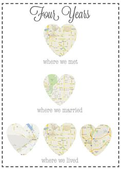 Custom Personalized Anniversary Gift: Map of Places You Met, Married and Lived