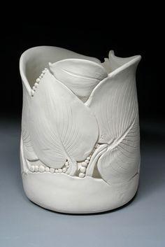 Hosta leaf pottery vase by Nancy Monsebroten