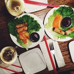 """@Natalie Suarez's photo: """"White wine and spring rolls! Kicking off the weekend with mah girls @Tobruck Ave @Dylana Suarez """""""