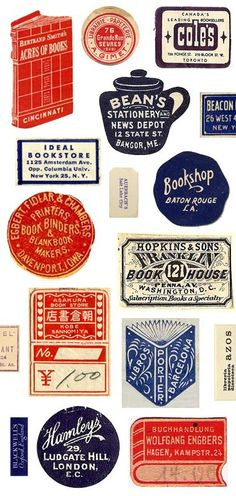"""Vintage book trade labels  """"Anyone who handles old books will have come across these small and sometimes beautiful labels pasted more or less discreetly into the endpapers. Publishers, printers, binders, importers, distributors and sellers of books -- new, second-hand and antiquarian -- used to advertise in this way their contribution to bringing the book to market."""":"""