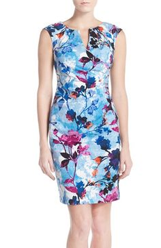 Adrianna Papell Floral Print Jacquard Sheath Dress
