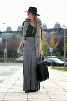 maxi skirt + fur vest + hat