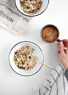 A simple, wholesome homemade Cherry Almond Breakfast Cereal made from raw, toasted, and dried ingredients. Breakfast Cereal, Paleo Breakfast, Breakfast Time, Breakfast Recipes, Breakfast Photography, Food Photography, Foto Pastel, Food Flatlay, Food Styling