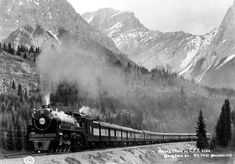 """This CPR 2850 """"Royal Train"""" in the Rockies near Trail BC is a semi-streamlined Hudson steam locomotive owned by the Canadian Pacific Railway (CPR) and built by Montreal Locomotive Works (MLW). Canadian Pacific Railway, Canadian Rockies, Diesel Locomotive, Steam Locomotive, Old Train Pictures, Us Railway, Saskatchewan Canada, Rail Transport, Old Gas Stations"""