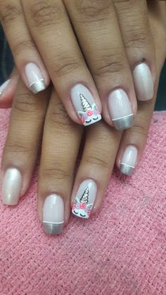 Looking for easy nail art ideas for short nails? Look no further here are are quick and easy nail art ideas for short nails. Diy Unicorn, Unicorn Nail Art, Unicorn Nails Designs, Nails For Kids, Girls Nails, Cute Nail Art, Christmas Nail Art, Christmas Makeup, Nail Decorations
