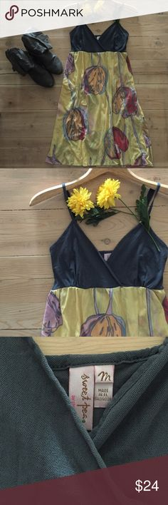 | Anthropologie Sweet Pea Dress Darling lemon and charcoal tulip print v-neck dress with adjustable straps.  100% mesh.  In excellent, gently used condition. Anthropologie Dresses