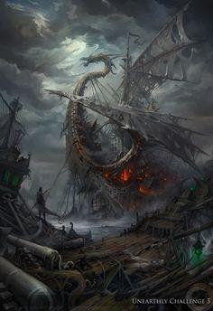 Lost ships by haryarti on deviantART. Dragon ship.