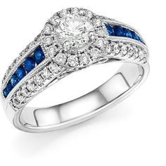 Diamond and Sapphire Engagement Ring in 14K White Gold - 100%... ($1,905) ❤ liked on Polyvore featuring jewelry, rings, 14k white gold ring, white gold rings, engagement rings, 14k engagement ring and 14 karat diamond ring