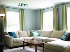 Living room....to work with what I want for kitchen. Pale walls, green curtains, slipcover chair in white and voila!!