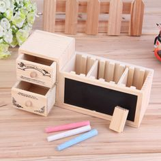 Cute Wood School Pencil Case With Blackboard Vintage Wooden Stationery Boxes F7 in Home, Furniture & DIY, Storage Solutions, Storage Boxes   eBay