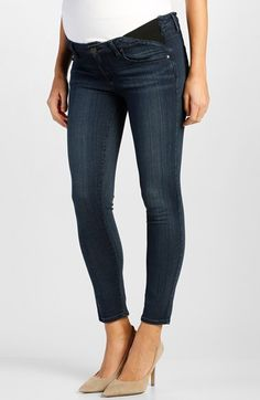Paige Denim 'Verdugo' Crop Skinny Maternity Jeans (Valor Blue) available at #Nordstrom