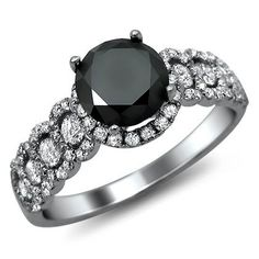 1.95Ct Black Round Diamond Engagement Ring 18K by FrontJewelers, $1,495.00