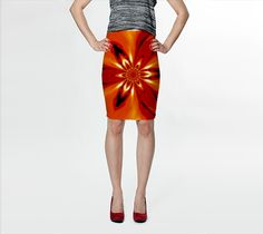 "Fitted+Skirt+""Flowers+of+Atlantis+Golden+Flare+4""+by+Sherrie+Larch"