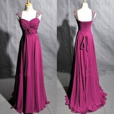 Free Shipping Beaded Cap Sleeves Prom Dress