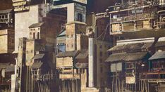 """Andockstelle"" Urban cityscape by Tobias Schmutz. Urban City, Tobias, Concept Art, Character Design, Landscape, Architecture, Drawings, Illustration, Travel"