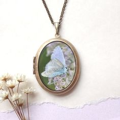 Faerie Moth Locket  Ethereal Iridescent Insect by Lothirielle