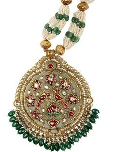 Jadtar work pendant on Jade stone
