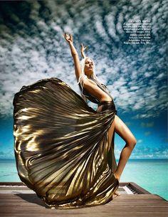 Flowing gold dress