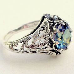 2.3Ct Art Deco Star White-Blue Sapphire Engagement Wedding 925 Silver Ring+Gift