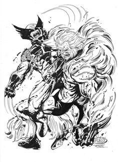 Wolverine Vs Sabretooth commission by John Byrne. 2014.