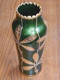Jugendstil aventurine glass vase around By Josef Riedel. Still for sale Stills For Sale, Czech Glass, Glass Art, Bohemian, Vase, Angel, Vases, Boho, Jars