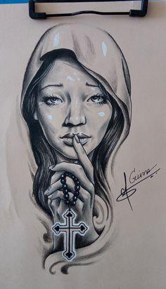 Jesus Christ Drawing, Tattoo Designs For Girls, Female Art, Sleeve Tattoos, Tattoo Stencils, Ink, Drawings, Angel, Saint Tattoo