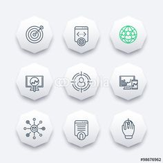 Vector: seo, search engine optimization, internet marketing, web page indexing line octagon icons, vector illustration