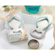 31c962fc58d586 3 inch long by 1 inch wide brushed metal flip flop-shaped bottle opener  favors with turquoise color rubber thong packaged in clear top gift box  with ...