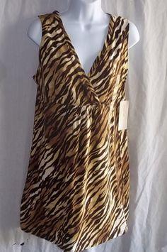 Jones New York Petite Medium Dress Animal Print Browns Sleeveless NWT #JonesNewYork #EmpireWaist #Clubwear