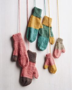 Our classic hand-knit mittens cheer up chilly days, thanks to playfully mismatched color-block patterns. Buy at least two skeins of yarn in different but coordinating colors (two skeins are enough to make one pair of women's and one pair of kids' mittens) Knitted Christmas Stockings, Christmas Knitting, Knitted Mittens Pattern, Knitting Patterns, How To Knit Mittens, Knitted Blankets, Knitted Hats, Knitted Scarves, Knitting Projects