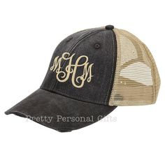 4db1b860ca45d Monogram Trucker Hat distressed with tan by PrettyPersonalGifts Distressed  Baseball Cap