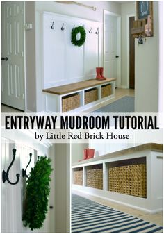 What a beautiful entryway! Entryway Mudroom Tutorial | LITTLE RED BRICK HOUSE