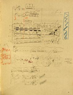 A page from the manuscript of The Sacrificial Dance from The Rite of Spring in Stravinsky's own hand, with corrections, annotations and scribbles