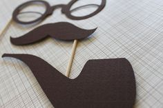 Photobooth Photo Prop - Pipe, Mustache, Glasses on a Stick Set. $10.50, via Etsy.