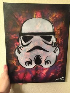 """Star Wars Storm Trooper pink purple and black original spray paint art painting on canvas 14""""x11"""" girly geek wall decor"""