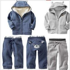 Boy's Long Sleeve Thick Full Fur Blue Bear Design Sweatshirt with Hat and Trousers Casual Casual suit Baby Boy Clothes Sale, Winter Baby Clothes, Unisex Clothes, Cheap Kids Clothes, Baby Winter, Baby Boy Outfits, Kids Outfits, Kids Clothing, China Clothing