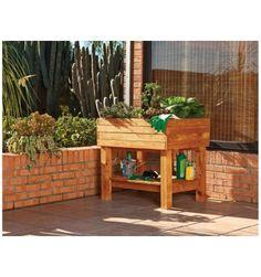 mesa de cultivo para huerto urbano fabricado en madera de pino tratada al autoclave muy