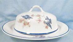 Vintage Bluebird Covered Butter Dish & Lid Homer Laughlin Blue Edge Trim BEAUTY