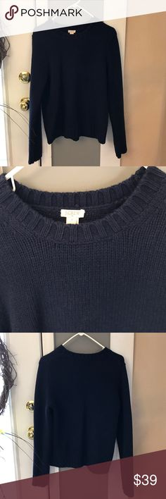 Navy J Crew Sweater, women's , worn once Excellent like new condition. Wore once. Pic of materials in photos. Measures about 25 inches in length. Bust measures approximately 20 inches. Navy crew neck women's sweater J. Crew Sweaters Crew & Scoop Necks