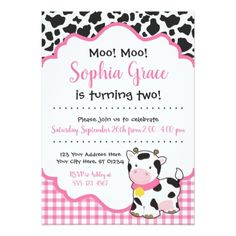Cow Birthday Party Invitation Pink and Black 2nd Birthday Party For Girl, Cowgirl Birthday, Farm Birthday, Birthday Party Themes, Birthday Ideas, 22nd Birthday, Daughter Birthday, Birthday Diy, Birthday Cards