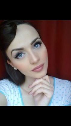 40's makeup- liner on the bottom outer corners, across the whole top, concentrated cheeks, matte finish