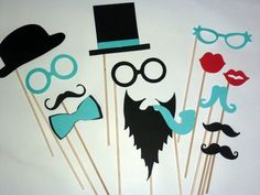 DIY YOU GLUE Photo Booth Props - 14 piece Set - Wedding Photo Booth Props - Little Man Gender Reveal Tiffany Blue Party