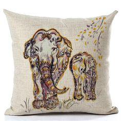 Nordic Vintage Elephant Cushion Pillow