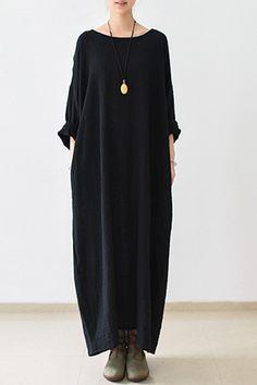 2016 Fall Thin Black Linen Dresses Long Sleeve Linen Caftans Gown #blackhighheelswithdressblackhighheelsclassic