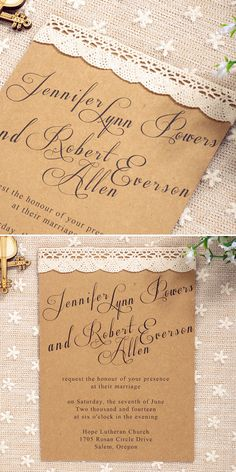 Rustic Lace Wedding Invitations for Country Weddings