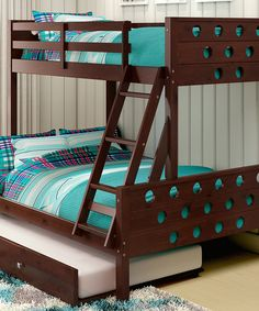 Take a look at this Dark Cappuccino Circles Twin/Full Trundle Bunk Bed today!