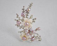 Pearl Brooch,Wedding Broaches, Purple Broach,Bridal Brooch,Mom Brooch(BR0044). $16.00, via Etsy.