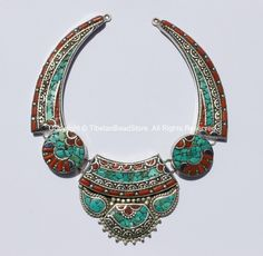 Ethnic Tibetan Necklace Bead Set with Lapis, Turquoise & Coral Inlays - Fine Quality DIY Necklace - DIY Tibetan Jewelry - N178